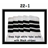 22 SKATERSOCKS white style 22-001 black stripes