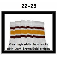 22 SKATERSOCKS white style 22-023 dark brown/gold stripes