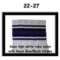 "22"" SKATERSOCKS white style 22-027 royal blue/black..."