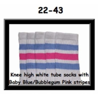 22 SKATERSOCKS white style 22-043 baby blue/bubblegum pink stripes