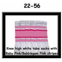 22 SKATERSOCKS white style 22-056 baby pink/bubblegum pink stripes