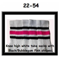 22 SKATERSOCKS white style 22-054 black/bubblegum pink...
