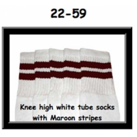 22 SKATERSOCKS white style 22-059 maroon stripes