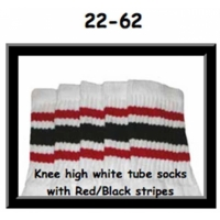 22 SKATERSOCKS white style 22-062 red/black stripes