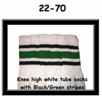 "22"" SKATERSOCKS white style 22-070 black/green stripes"