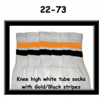 22 SKATERSOCKS white style 22-073 gold/black stripes