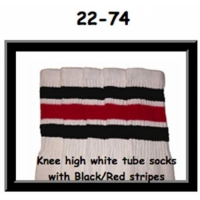 "22"" SKATERSOCKS white style 22-074 black/red stripes"