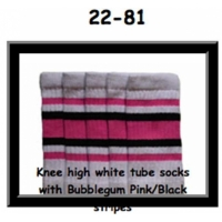 22 SKATERSOCKS white style 22-081 bubblegum pink/black stripes