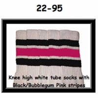 22 SKATERSOCKS white style 22-095 black/bubblegum...