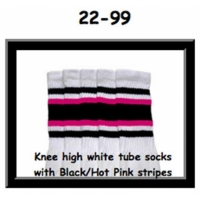 22 SKATERSOCKS white style 22-099 black/hot pink/black...