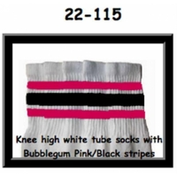 22 SKATERSOCKS white style 22-115 bubblegumpink/black...