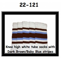 22 SKATERSOCKS white style 22-121 dark brown/baby blue...