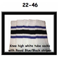 "22"" SKATERSOCKS white style 22-046 royal blue/black..."