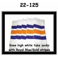 22 SKATERSOCKS white style 22-125 royal blue / gold stripes