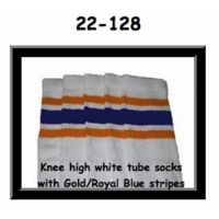 22 SKATERSOCKS white style 22-128 gold/royal blue stripes