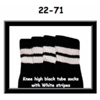 22 SKATERSOCKS black style 22-071 white stripes