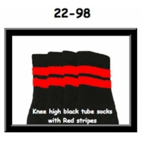 22 SKATERSOCKS black style 22-098 red stripes