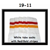 19 SKATERSOCKS white style 19-011 red/gold stripes