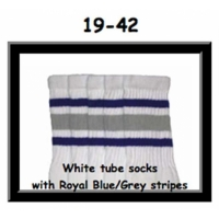 19 SKATERSOCKS white style 19-042 grey/royal blue stripes