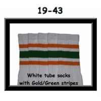 19 SKATERSOCKS white style 19-043 green/gold stripes