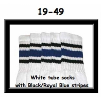 19 SKATERSOCKS white style 19-049 royal blue/black stripes