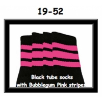 19 SKATERSOCKS black style 19-052 bubblegum pink stripes