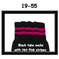 19 SKATERSOCKS black style 19-055 hot pink stripes