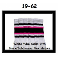 19 SKATERSOCKS white style 19-062 black/bubblegum pink stripes