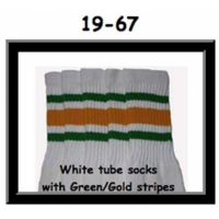 19 SKATERSOCKS white style 19-067 green/gold stripes
