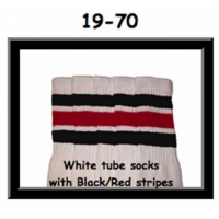 19 SKATERSOCKS white style 19-070 black/red stripes