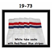 19 SKATERSOCKS white style 19-073 red/royal blue stripes