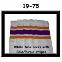 19 SKATERSOCKS white style 19-075 with gold/purple stripes