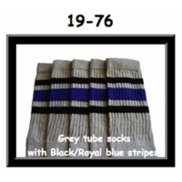 19 SKATERSOCKS grey style 19-076 black/royal blue stripes