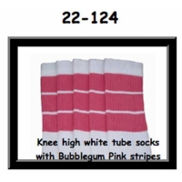 22 SKATERSOCKS white style 22-124 bubblegum pink stripes