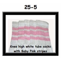 25 SKATERSOCKS white style 25-005 baby pink stripes