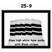 "25"" SKATERSOCKS white style 25-009 black stripes"