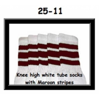 "25"" SKATERSOCKS white style 25-011 maroon stripes"
