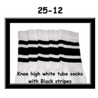 "25"" SKATERSOCKS white style 25-012 black stripes"