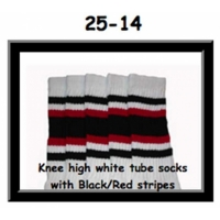"25"" SKATERSOCKS white style 25-014 black/red stripes"