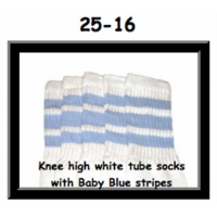 25 SKATERSOCKS white style 25-016 baby blue stripes