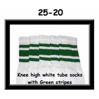 25 SKATERSOCKS white style 25-020 green stripes