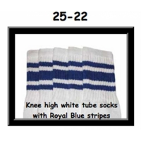 25 SKATERSOCKS white style 25-022 royal blue stripes