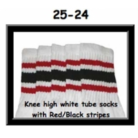 25 SKATERSOCKS white style 25-024 black/red stripes