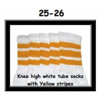 25 SKATERSOCKS white style 25-026 yellow stripes