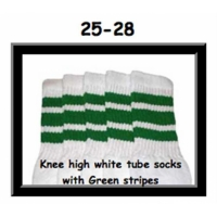 25 SKATERSOCKS white style 25-028 green stripes