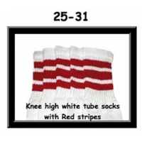 "25"" SKATERSOCKS white style 25-031 red stripes"