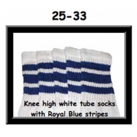 25 SKATERSOCKS white style 25-033 royal blue stripes