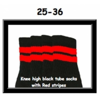 25 SKATERSOCKS black style 25-036 red stripes