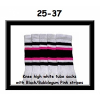 25 SKATERSOCKS white style 25-037 black/bubblegum pink stripes