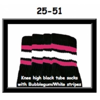 25 SKATERSOCKS black style 25-051 bubblegum pink/white...
